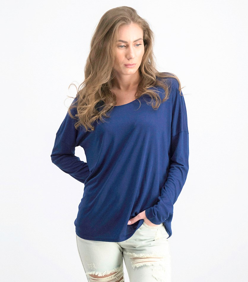 Women's Sutherland Cutout Long Sleeve Tee, Ink Blue