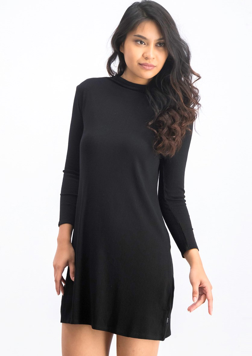 Women's Longsleeves High Neck Mini Dress, Black
