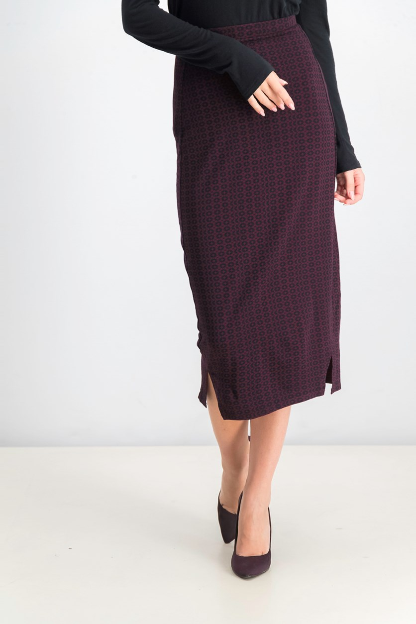 Junior's Domestic Midi Skirt, Burgundy
