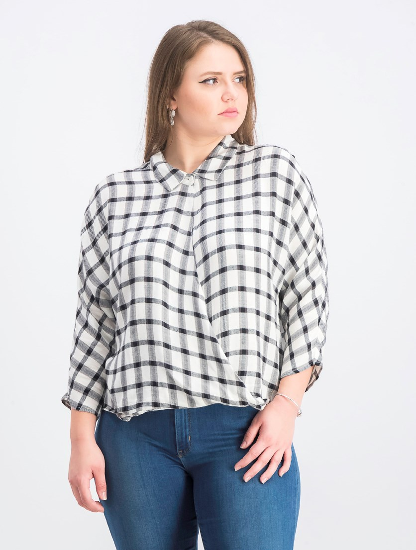 Women's Commander Crossover Plaid Top, Vintage Black/White