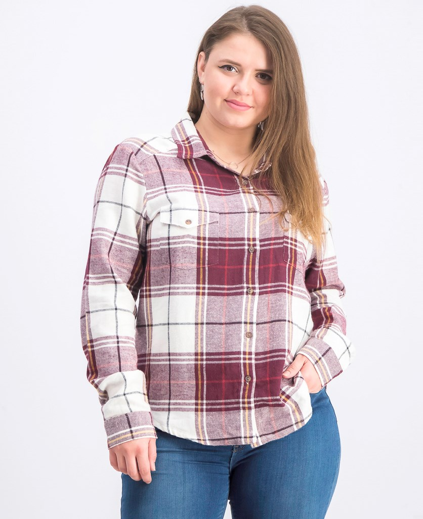 Women's Plaid Button-Down Shirt, Purple/White