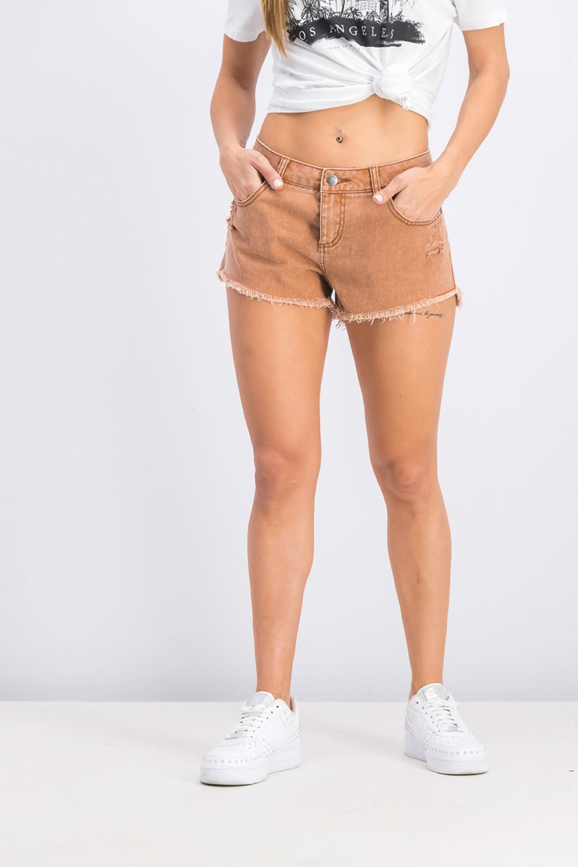 Women's 'Hello Mellow' Cutoff Denim Shorts, Brown