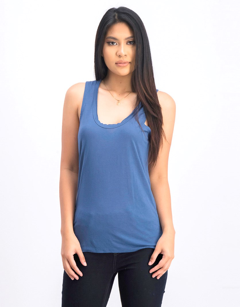 Women's Scoop Neckline Baxter Tank Top, Blue