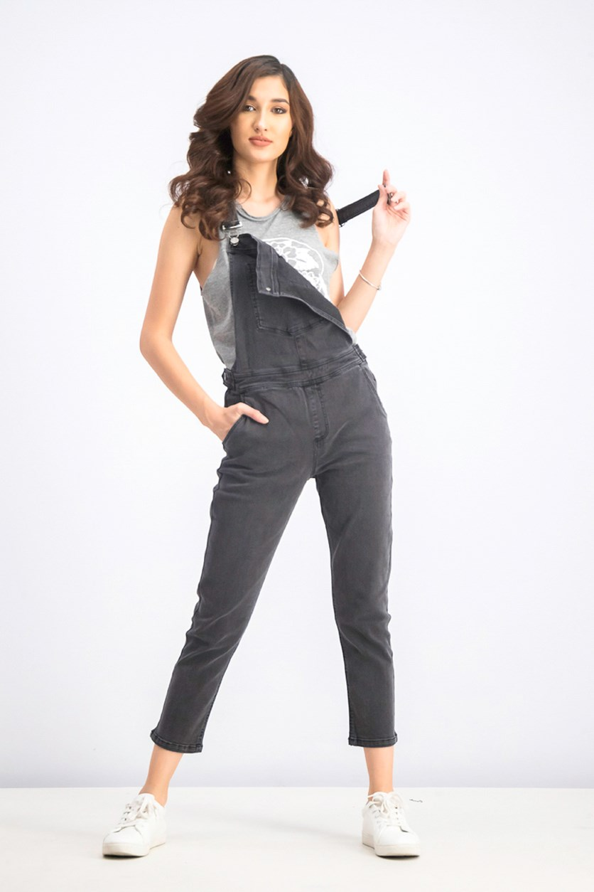 Women's Denim Overall, Washed Black