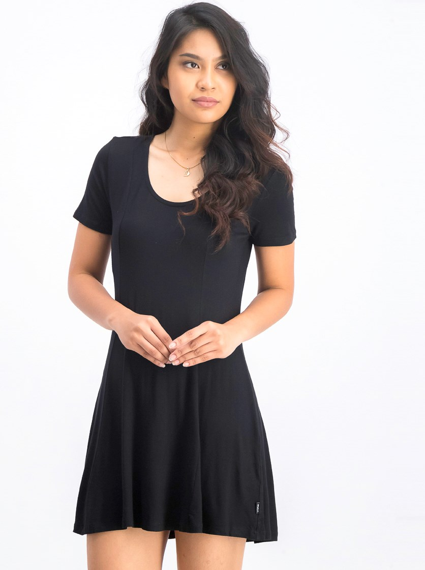 Women's Plain Mini Dress, Black