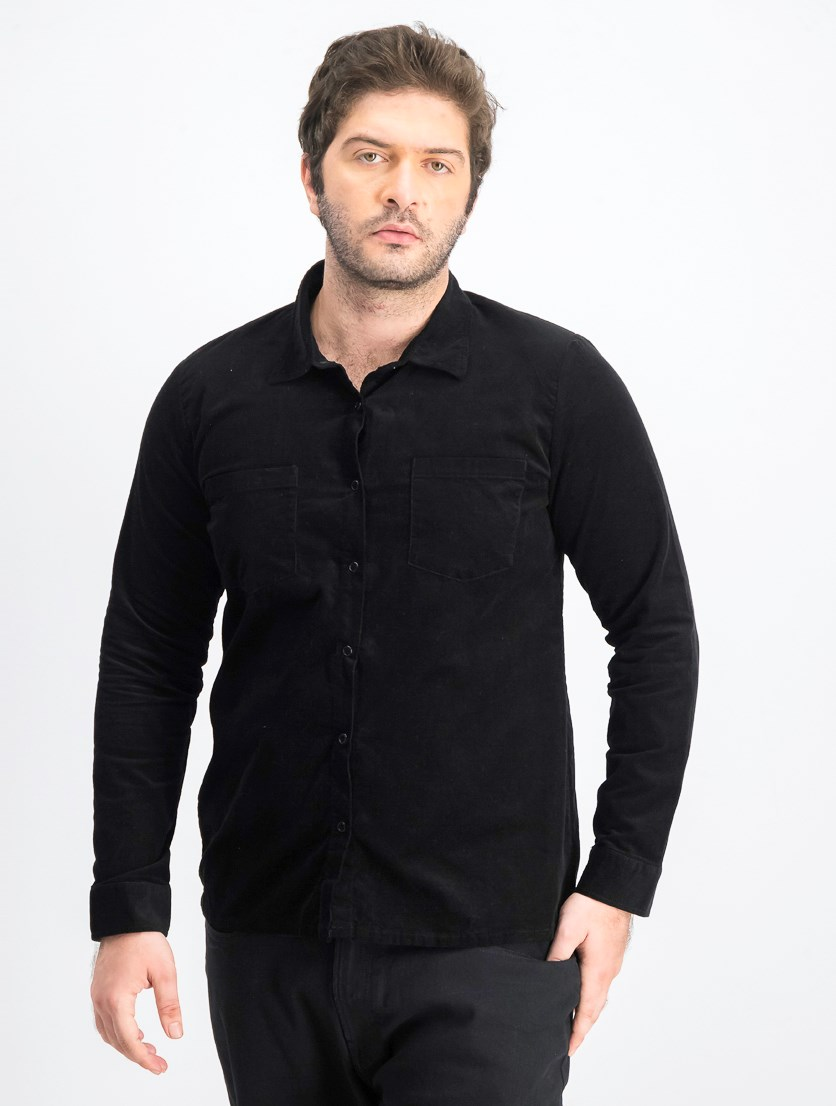 Men's Long Sleeve Casual Shirt, Black