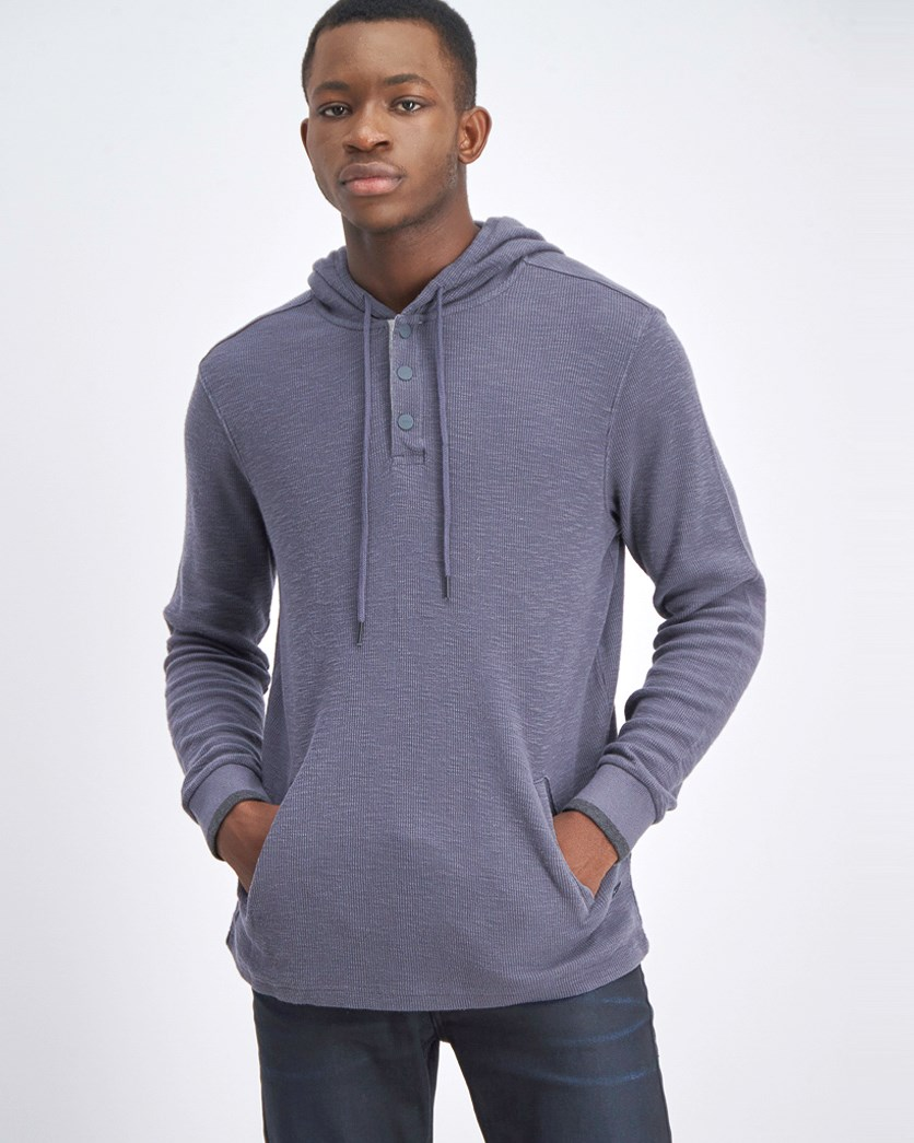 Men's Long Sleeve Hooded Sweater, Slate Grey