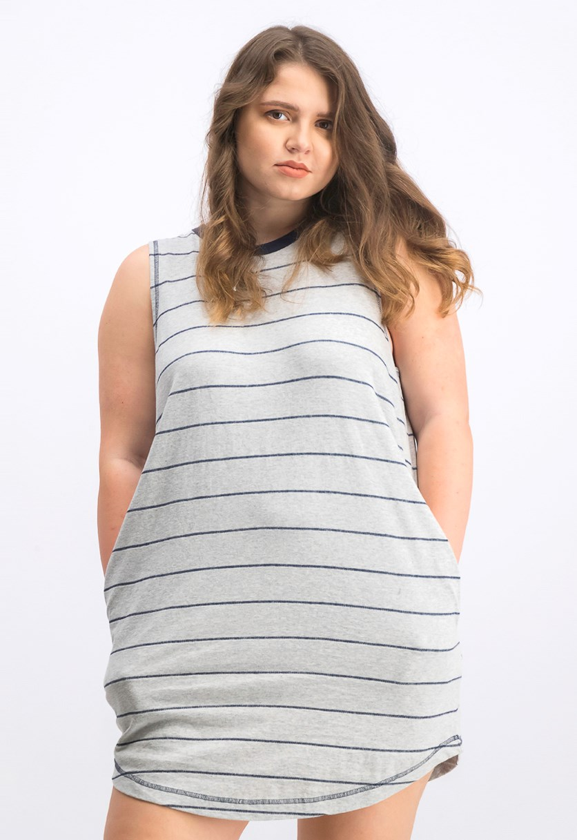 Women's Byrdie Striped Knit Dress, Heather Grey/Navy