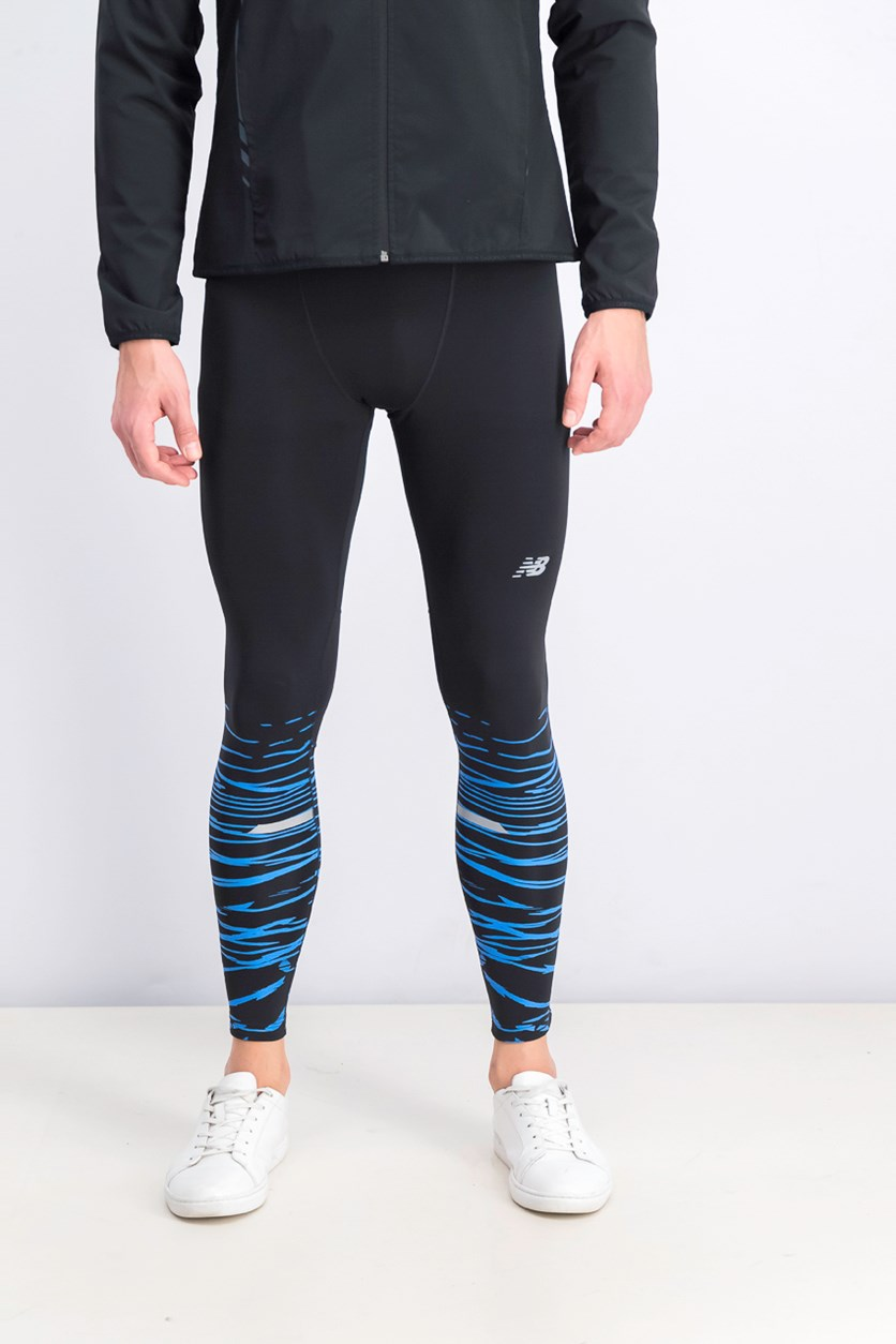 Men's Fitted Leggings, Black/Blue