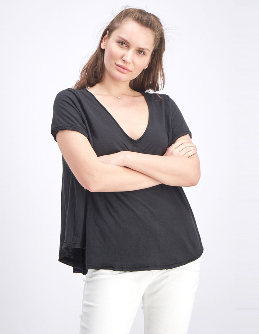 Women's Oversized All You Need Raw-Edge Tee, Black
