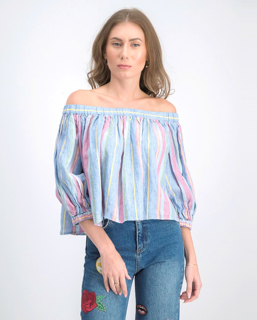 Women's Linen Off-the-Shoulder Blouse, Purple Combo