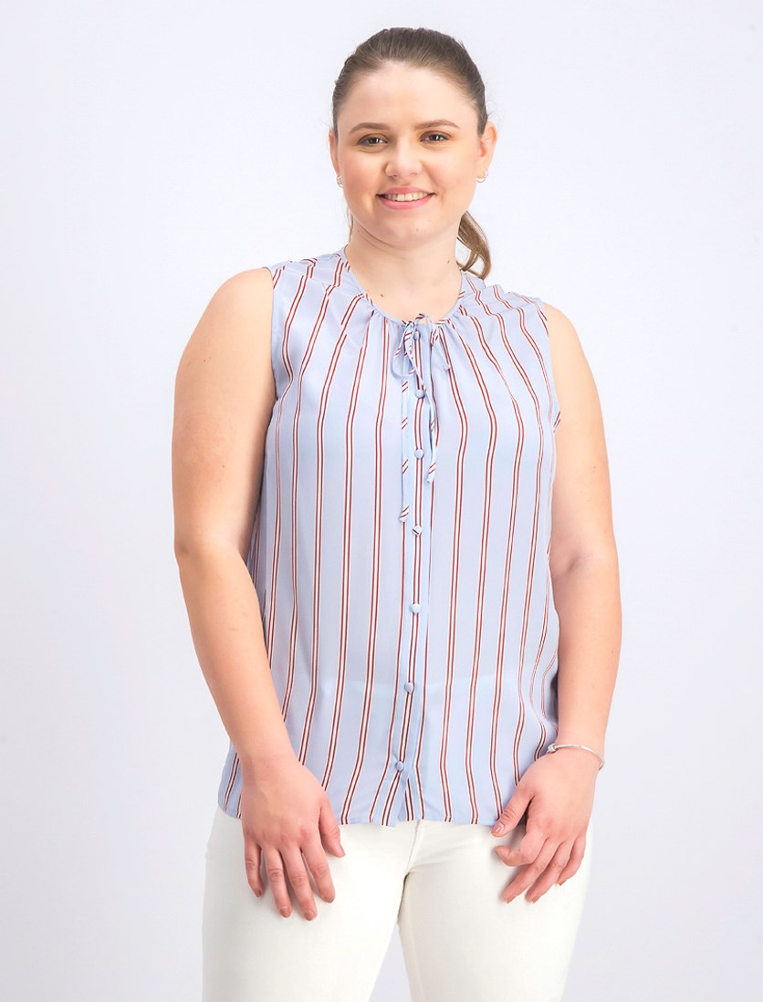 Women's Silk Striped Button-Down Top, Shirting Blue Combo