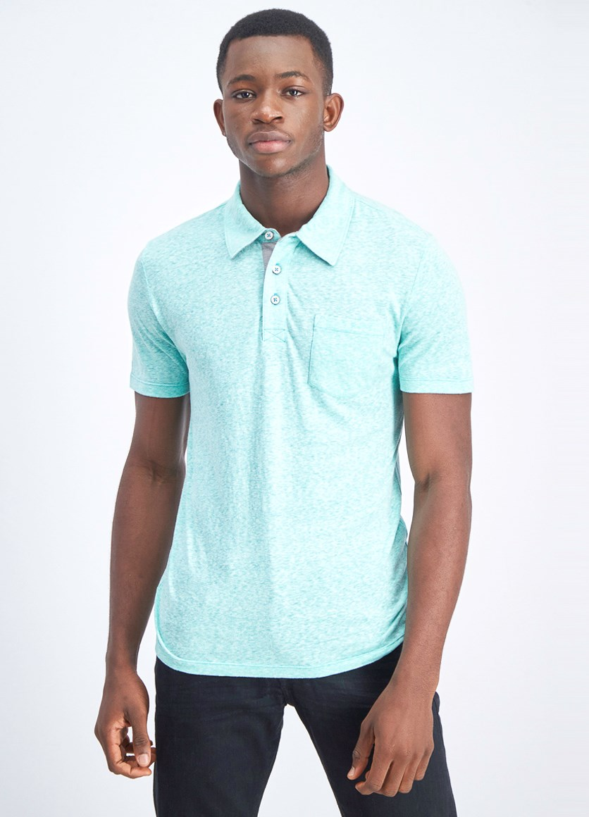 Men's Oswego Snow Heather Polo, Aqua