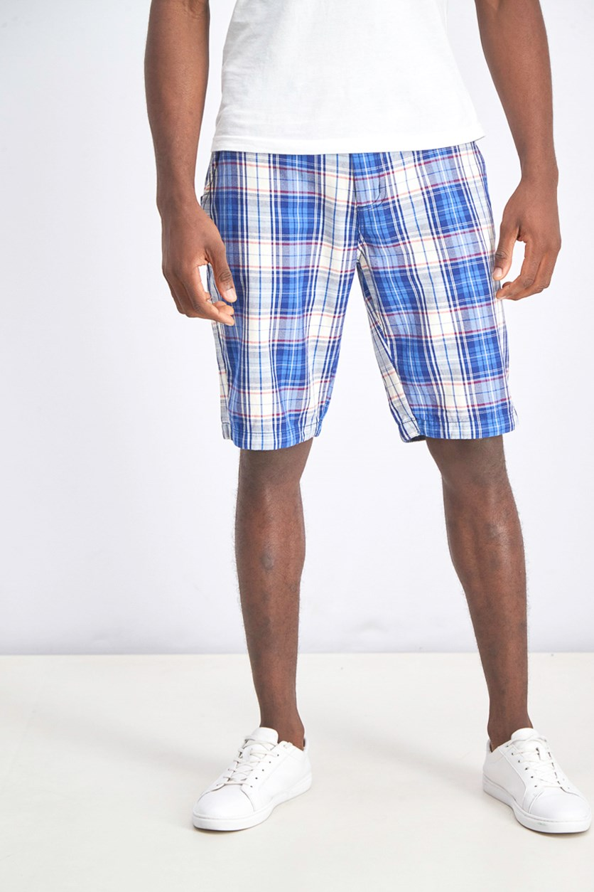 Men's Based Plaid Short, Blue Combo