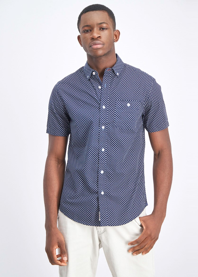 Men's Allover Print Front Pocket Shirt, Navy