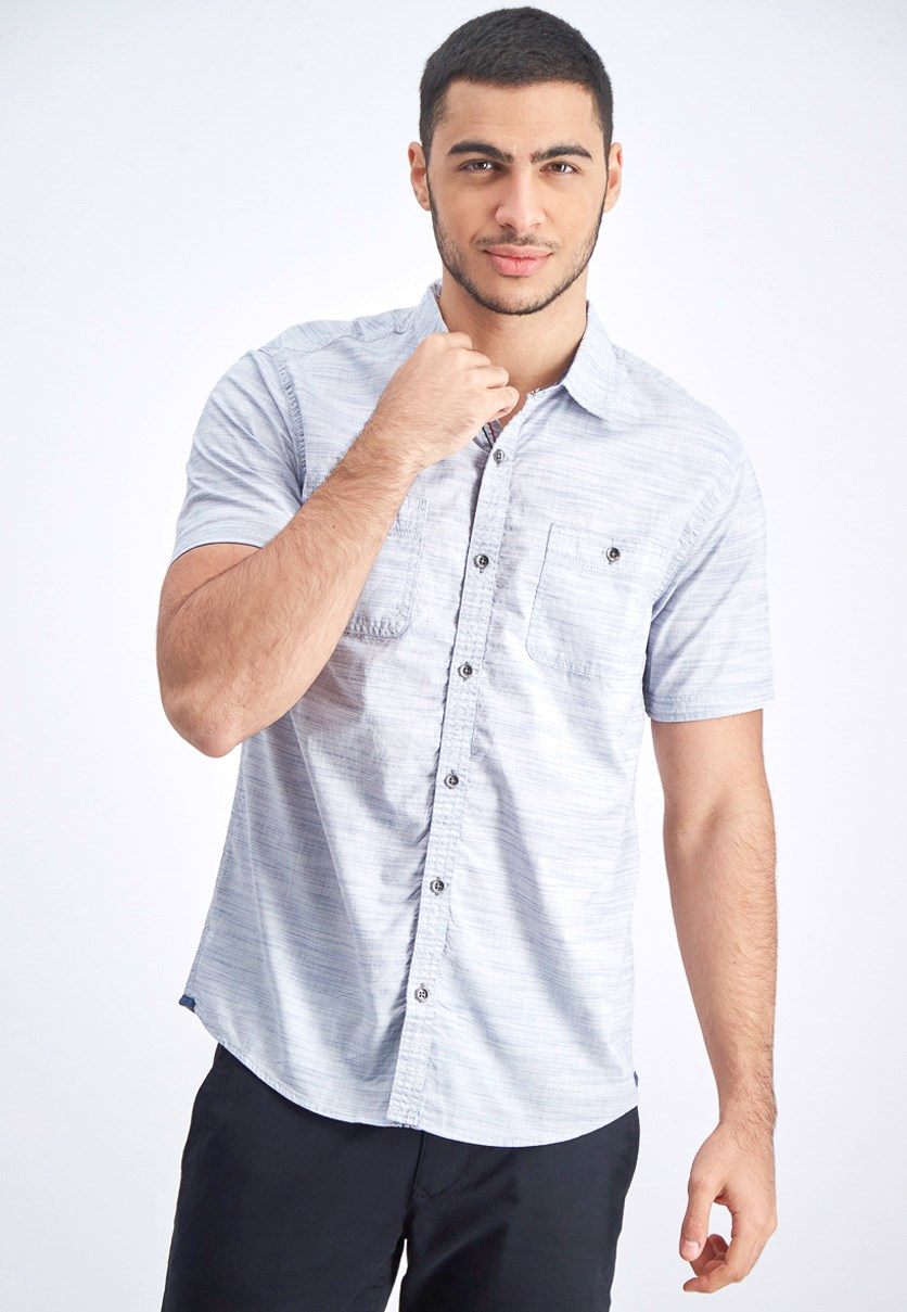 Men's Short Sleeve Shirt, Grey/Blue