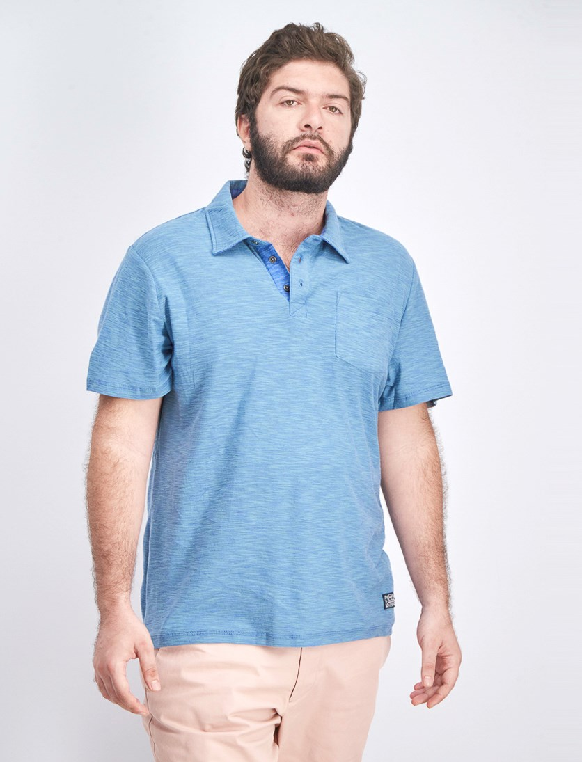 Men's Pocket Chest Polo Shirt, Mini Blue
