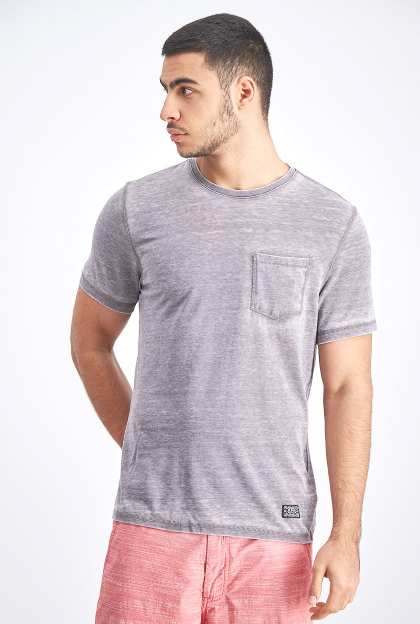 Men's Burnout  Pullover Shirt, Light Grey