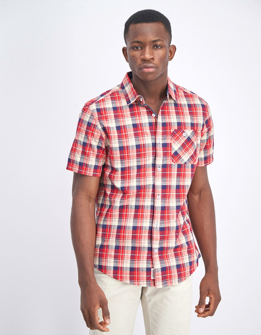 Men's Short Sleeve Plaid Shirt, Red/Navy