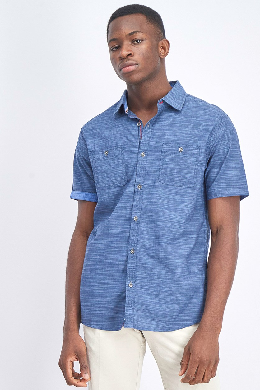Men's Short Sleeve Shirt, Mid Blue