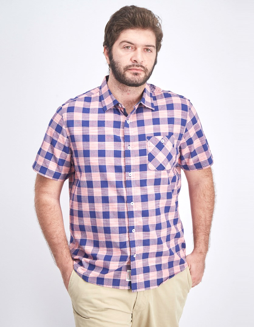 Men's Short Sleeve Plaid Shirt, Pink/Navy
