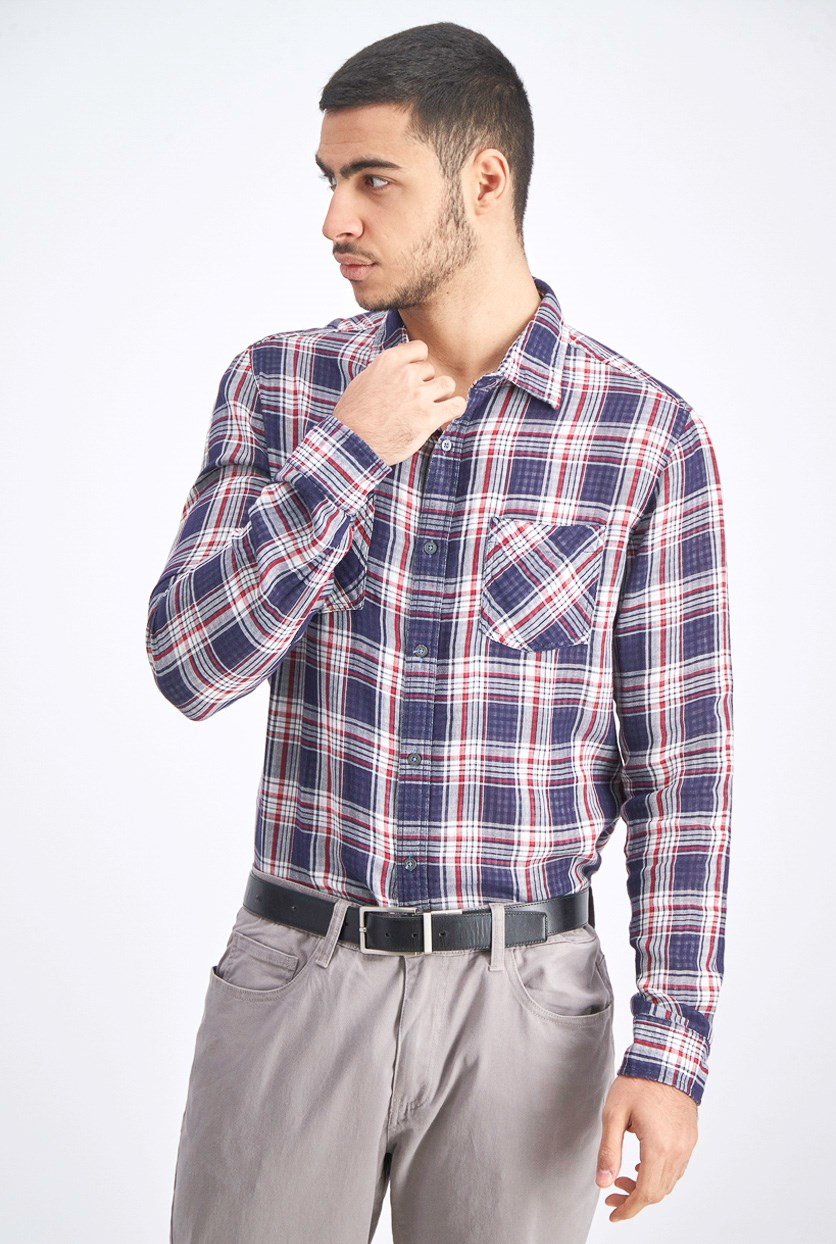 Men's Plaid Long Sleeves Shirt, Navy/Red