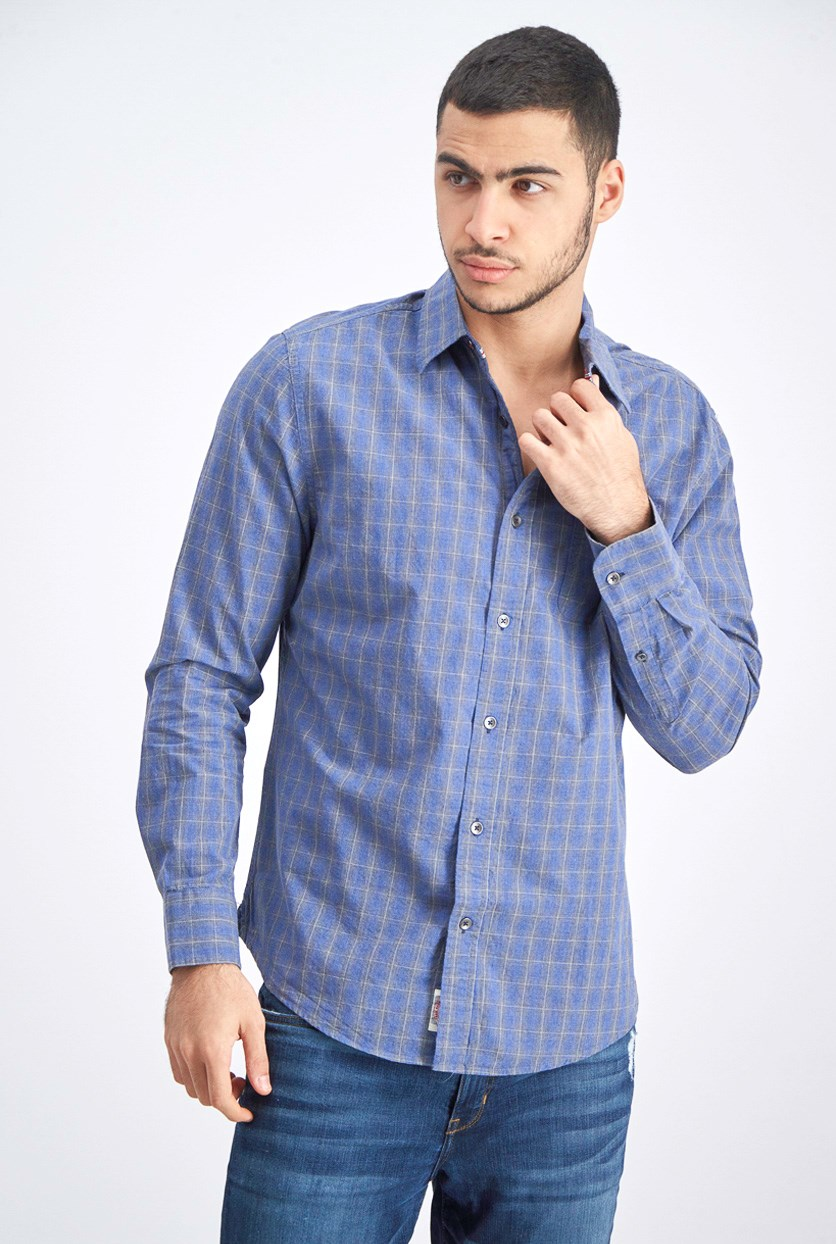 Men's Plaid Long Sleeve Shirt, Gray Blue