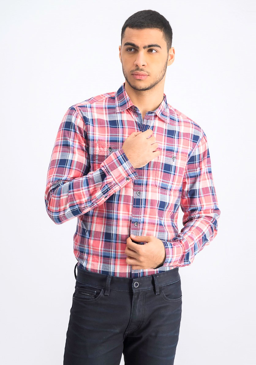 Men's Two Front Pocket Textured Longsleeve Shirt, Pink Combo
