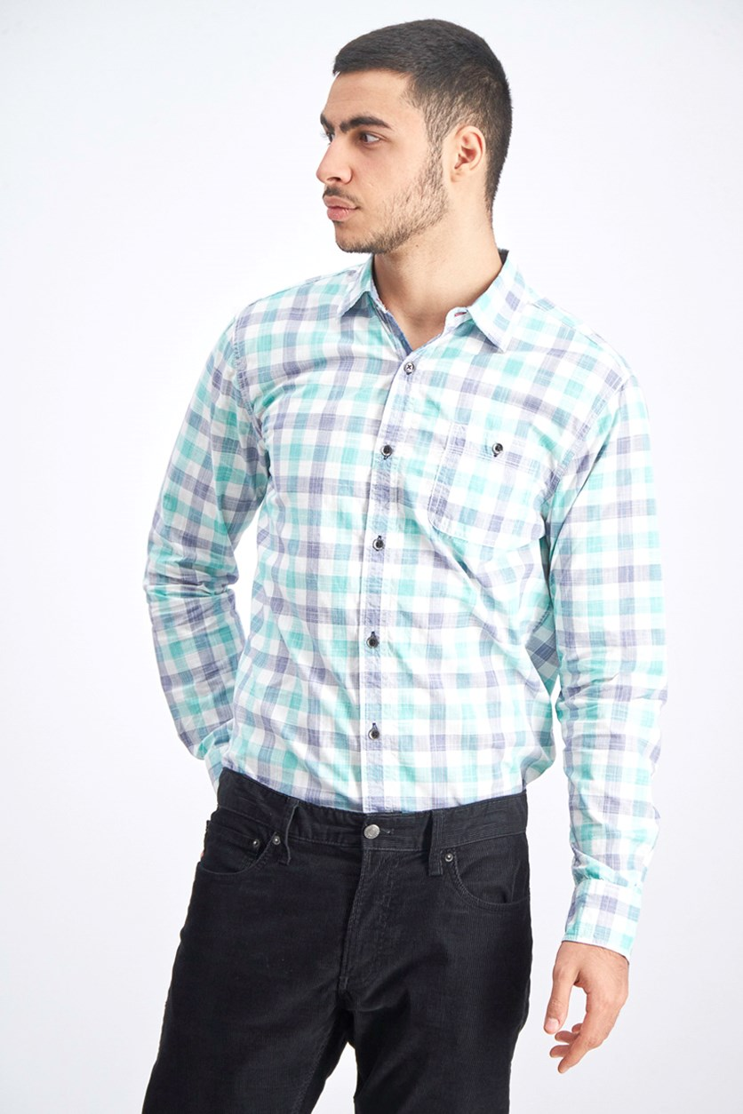Men's Plaid Casual Shirt, Navy/Aqua