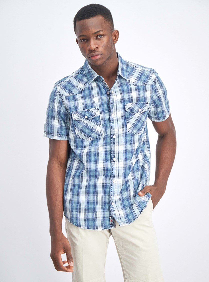 Men's Front Pocket Short Sleeve Shirt, Green/Blue Plaid