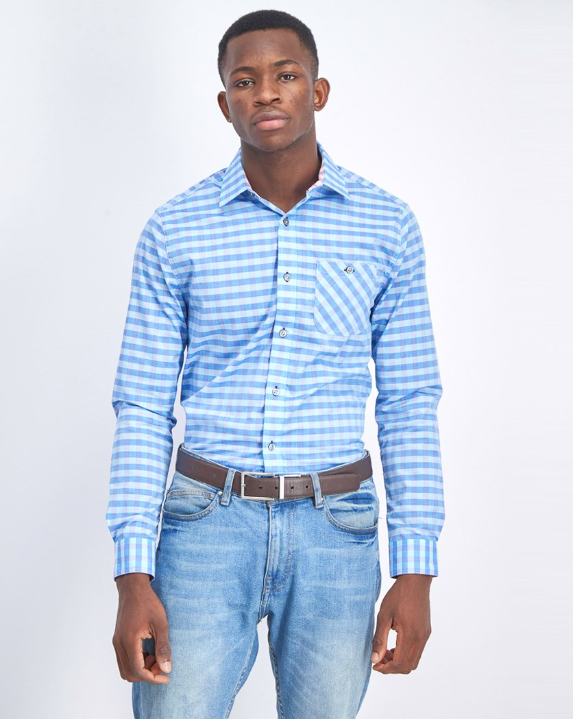 Men's Gingham Short Sleeve Shirt, Blue