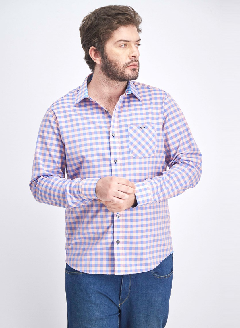 Men's Checkered Long Sleeve Shirt, Pink/Blue