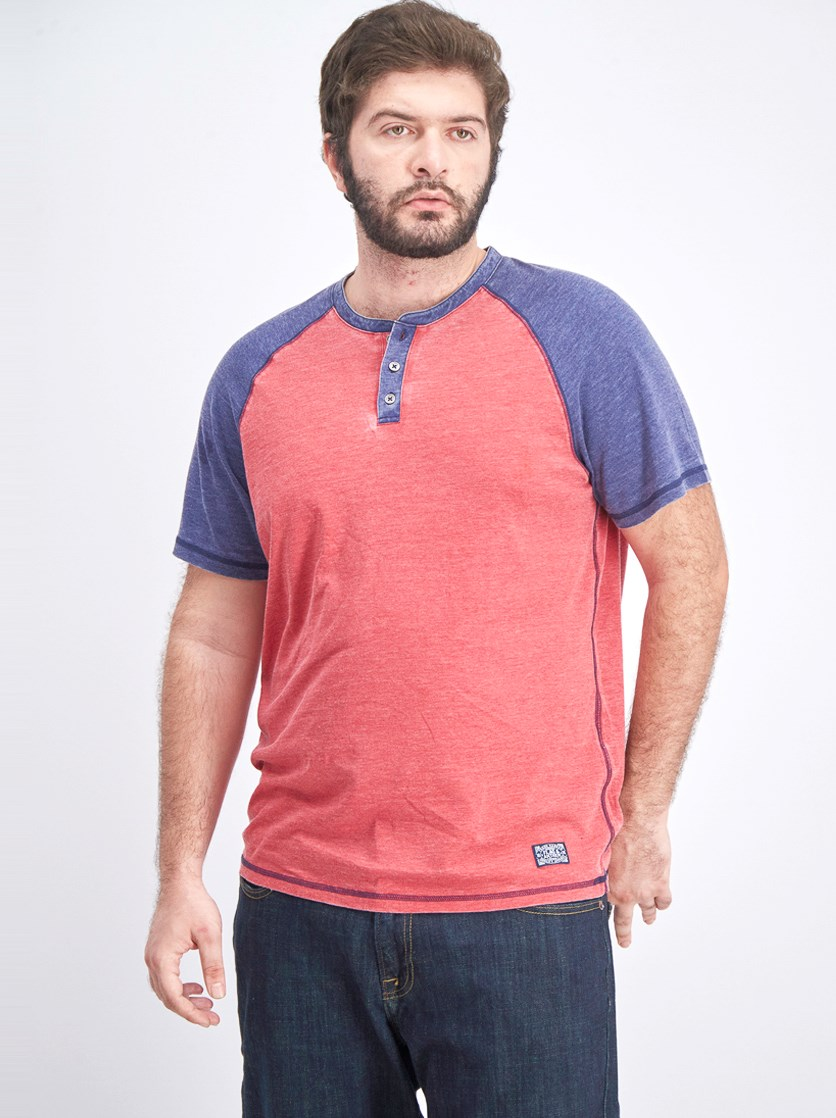 Men's Colorblock Shirt, Red/Navy