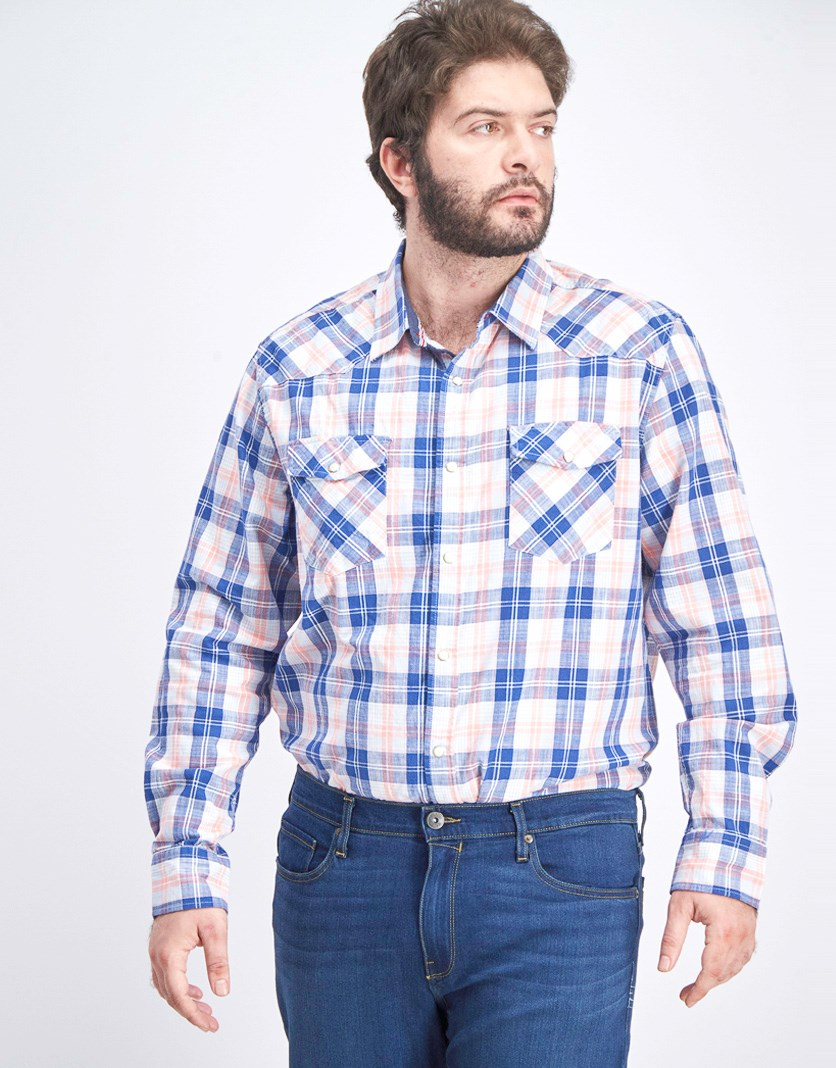 Men's Plaid Casual Shirt, Blue/Pink Combo