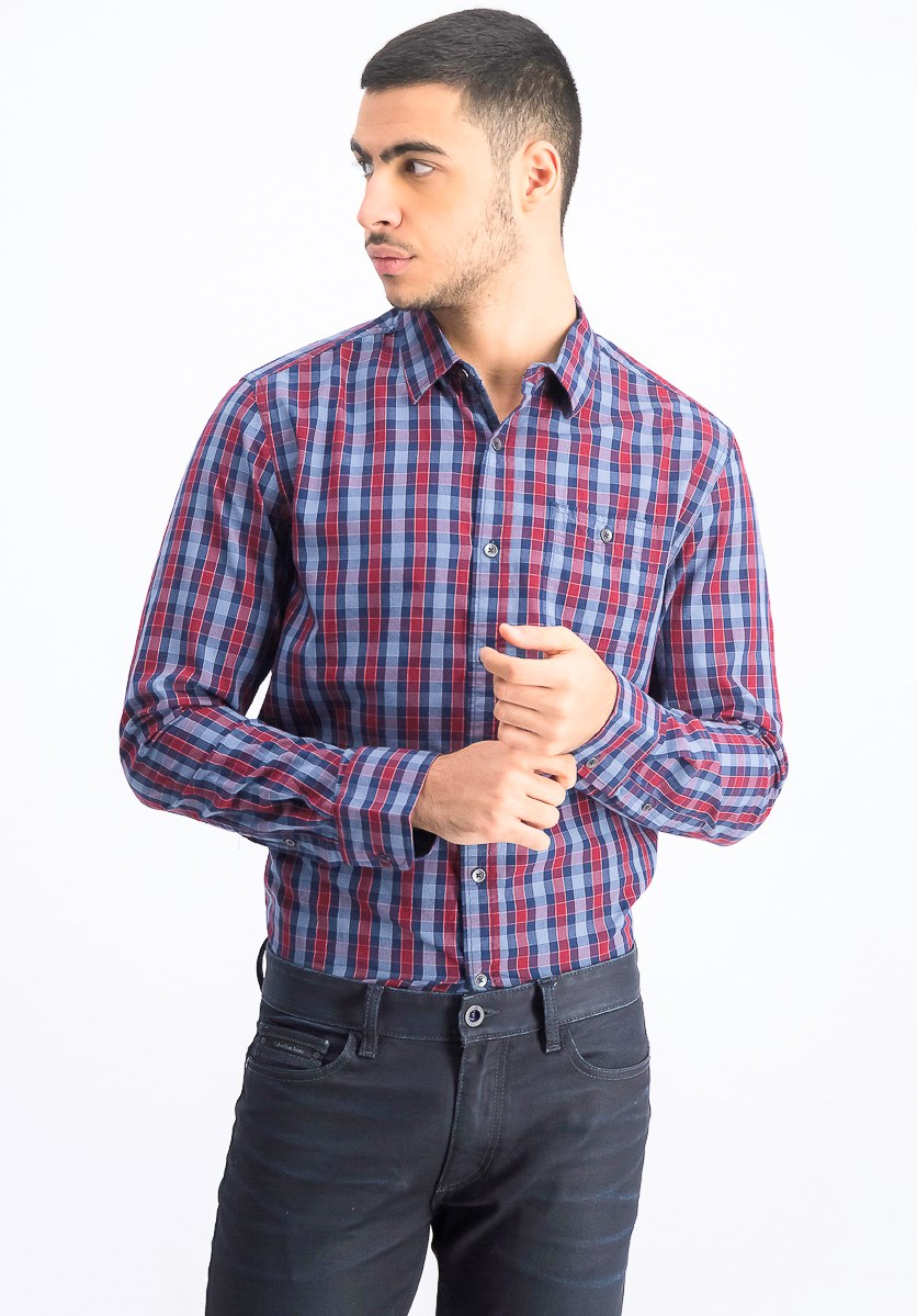 Men's Checkered Long Sleeve Shirt, Red/Blue