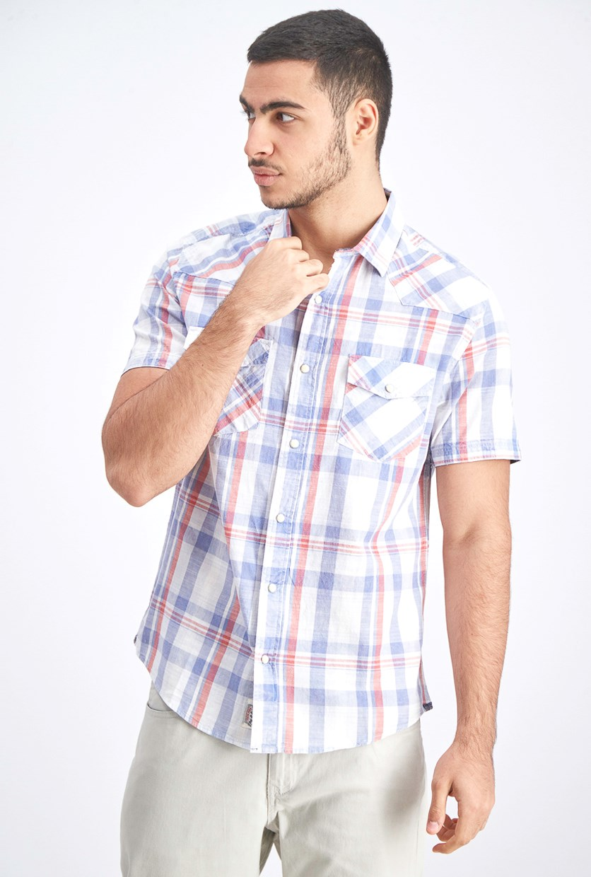 Men's Snap Button Short Sleeves Shirt, Light Blue/Red Pale