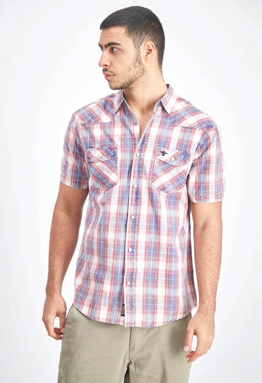 Men's Plaid Casual Shirt, Red Combo