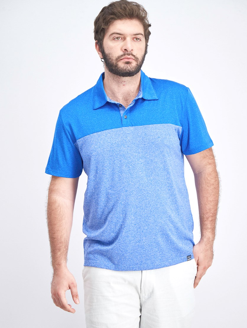 Men's Colorblock Polo Shirt, Blue Combo