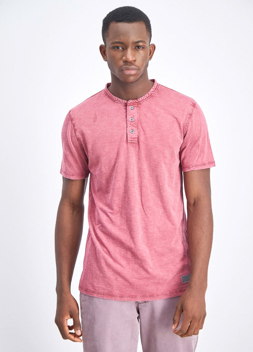 Men's Half Button T-Shirt, Mauve