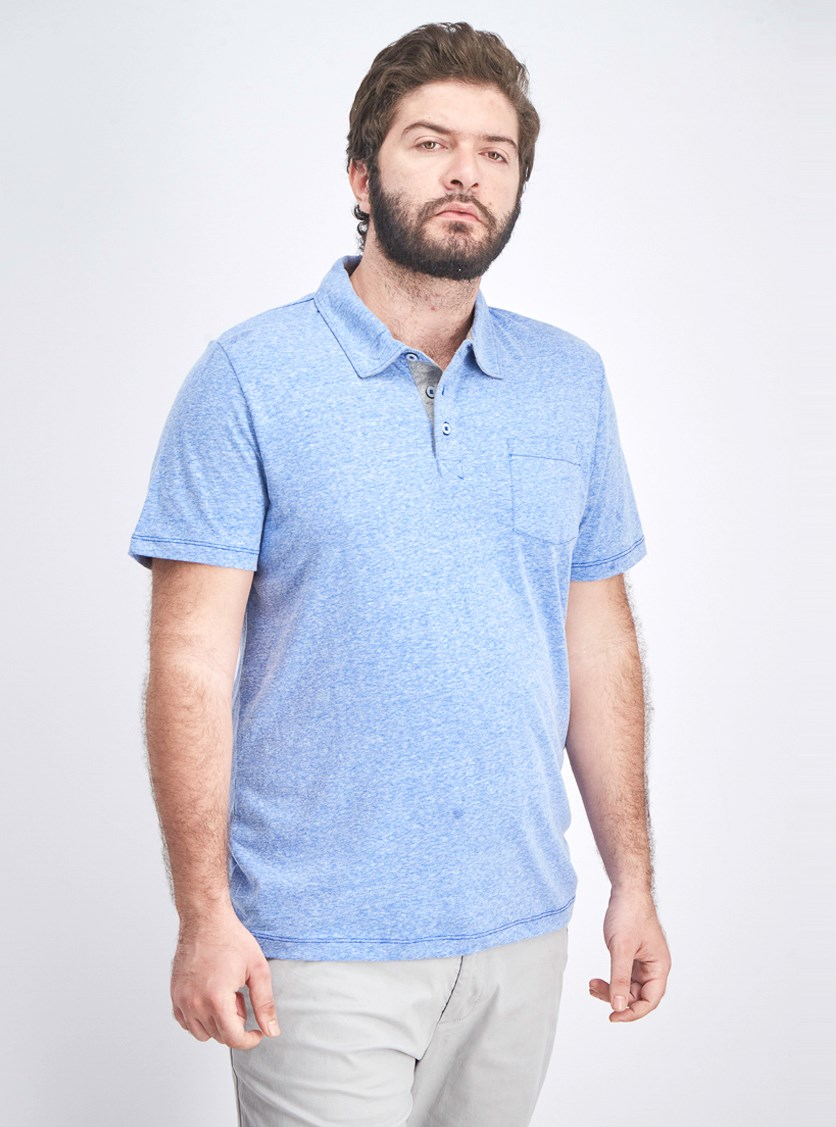 Men's Knit Polo Shirt, Moonlight Blue