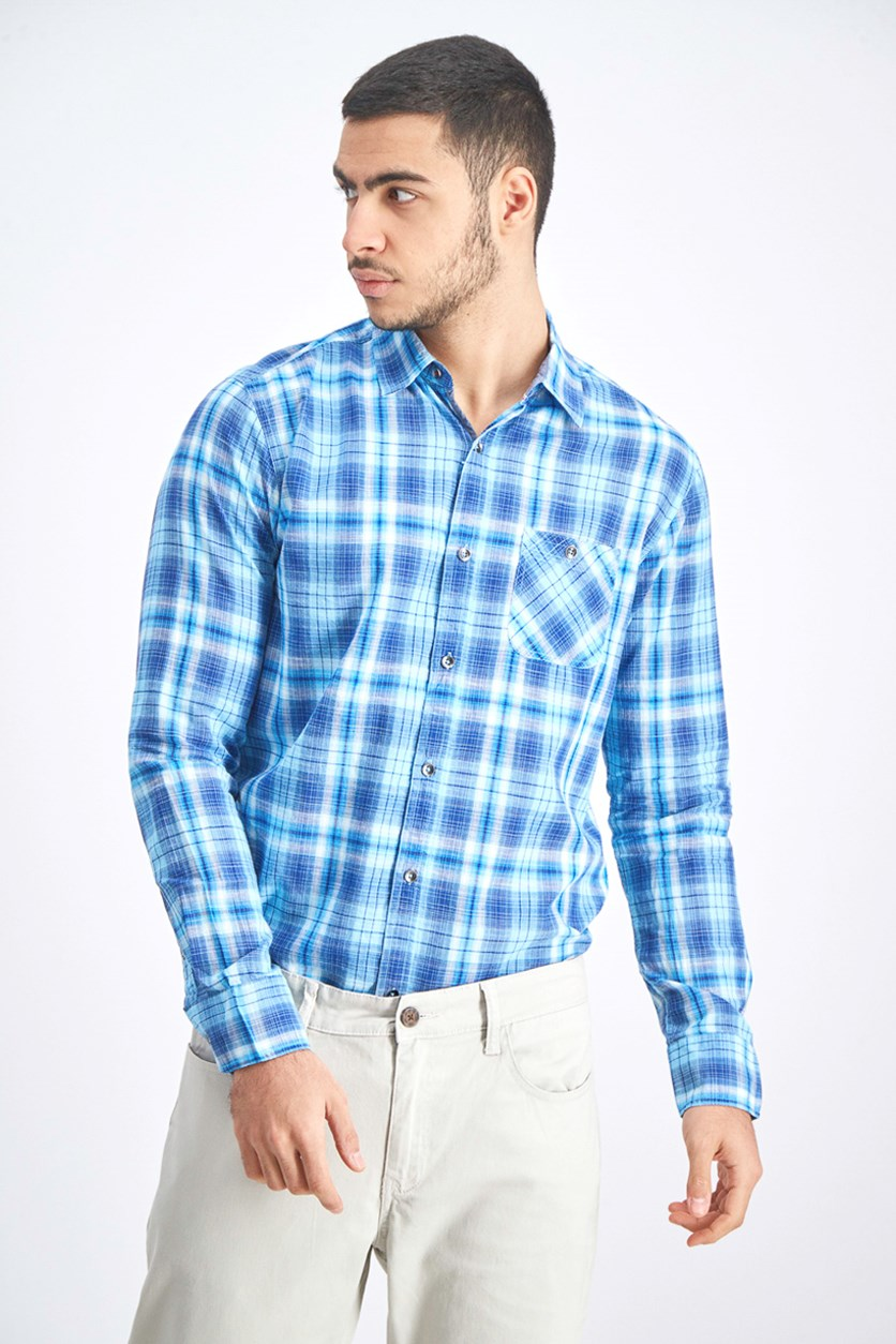 Men's Woven Longsleeve Shirt, Aqua Blue