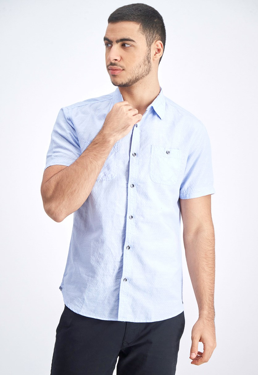 Men's Glenford Short Sleeve Shirt, Blue/White