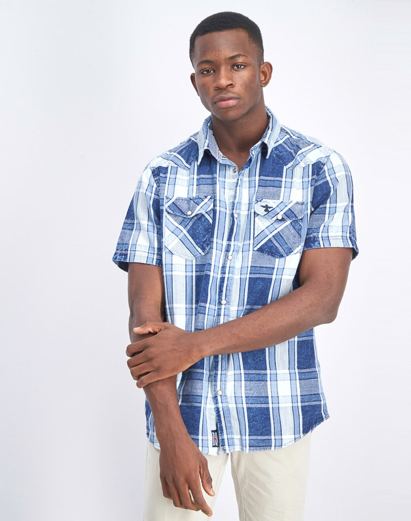 Men's Checkered Short Sleeve Shirt, Light Blue/Navy