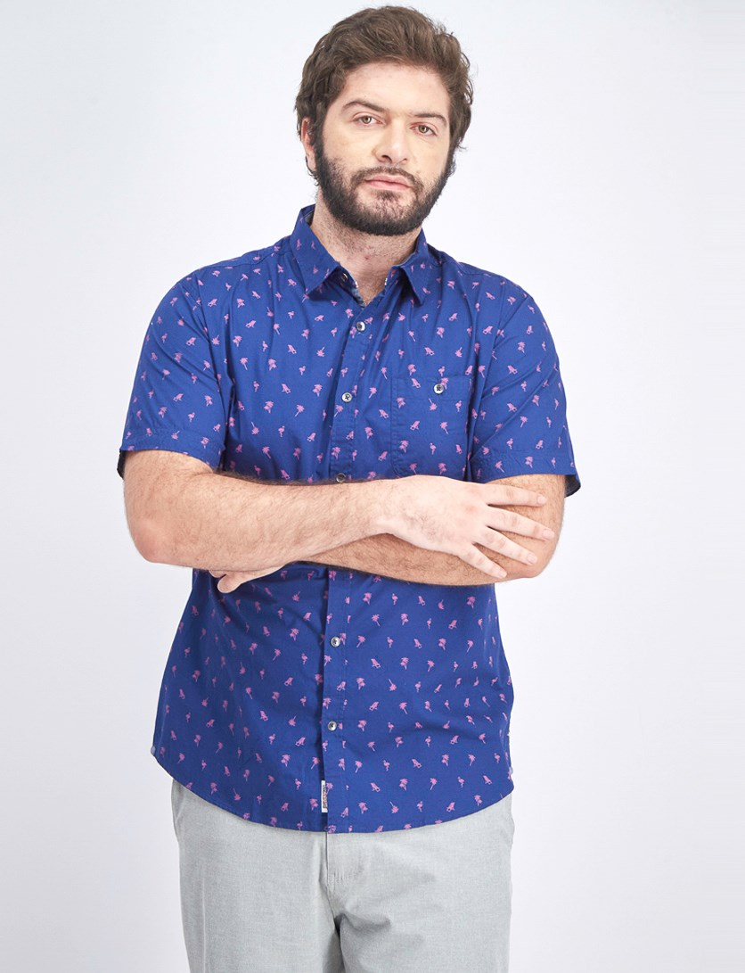 Men's All Over Print Short Sleeve Shirt, Navy Blue