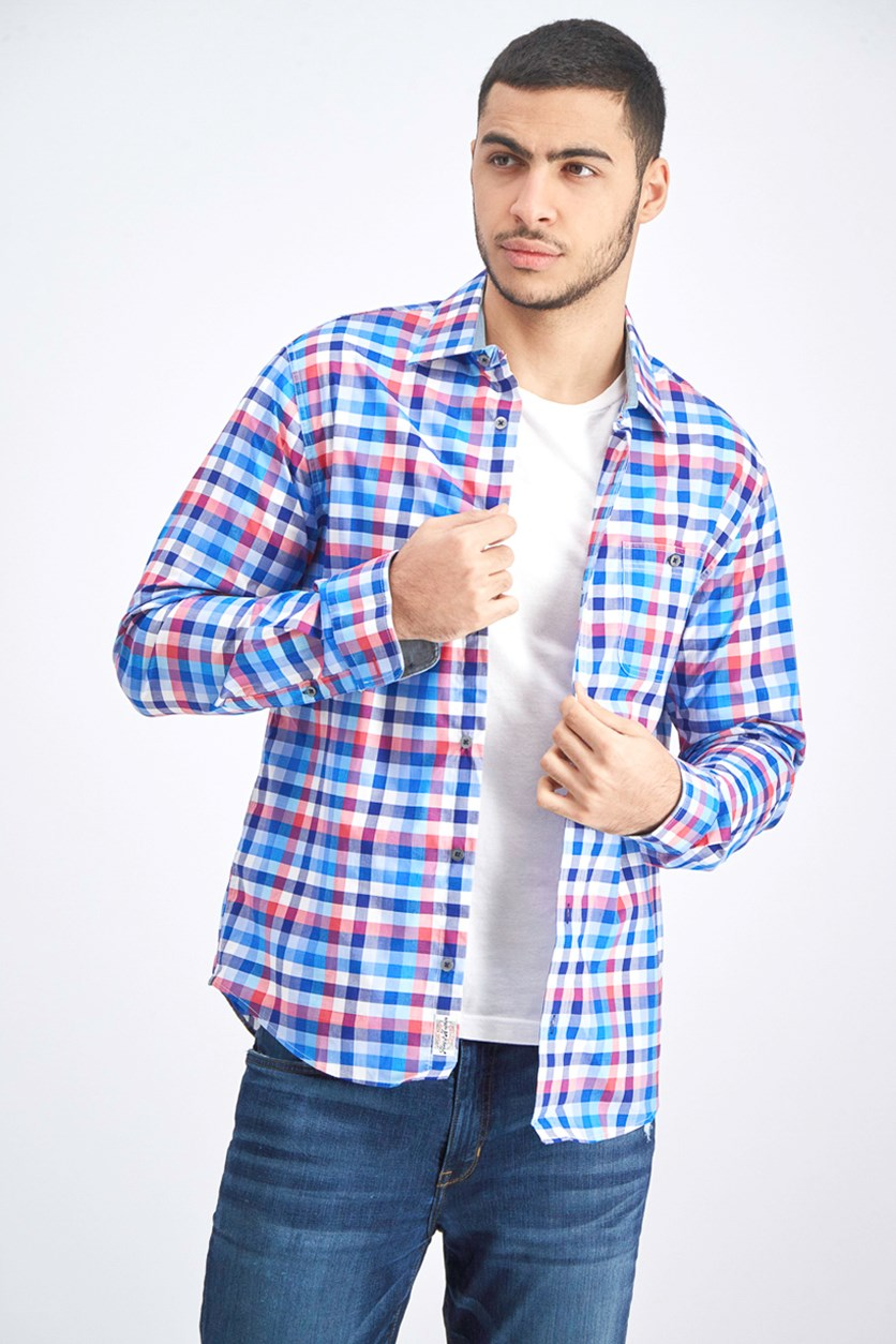 Men's Plaid Button Down Shirt, Blue/Red