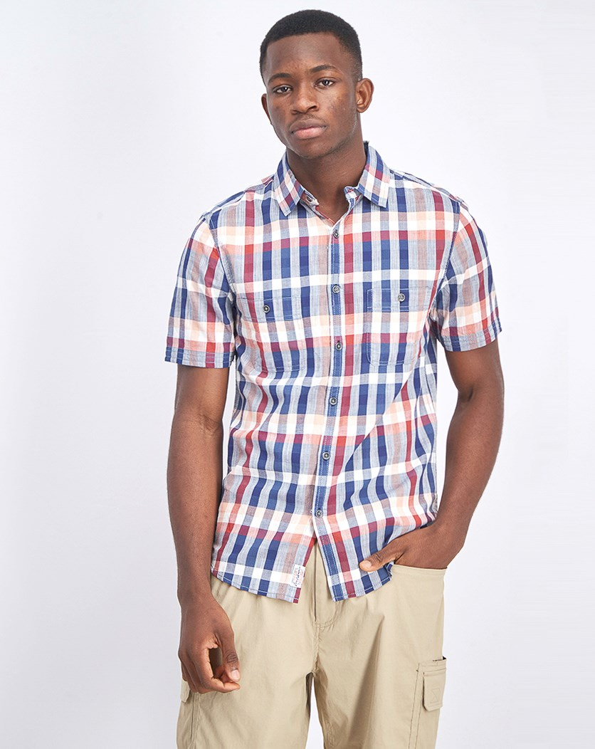 Men's Short Sleeve Checkered Shirt, Red/Navy/White Combo