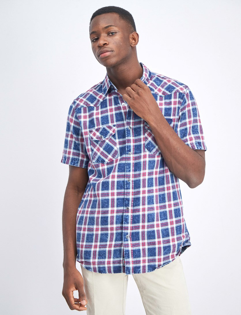 Men's Short Sleeve Shirt, Indigo Plaid