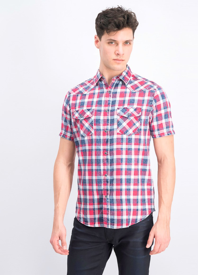 Men's Two Front Pocket Plaid Shirt, Red Combo