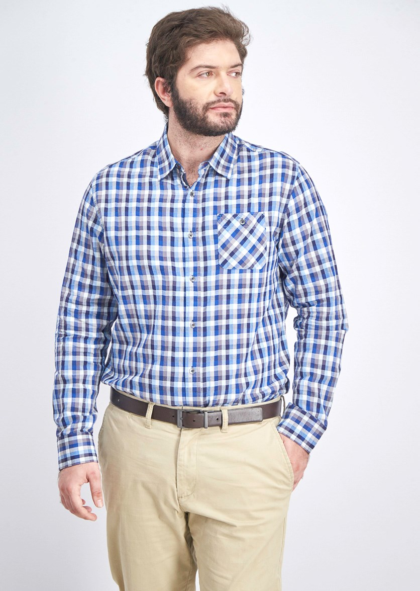 Men's Plaid Button Down Shirt, Blue/White Combo