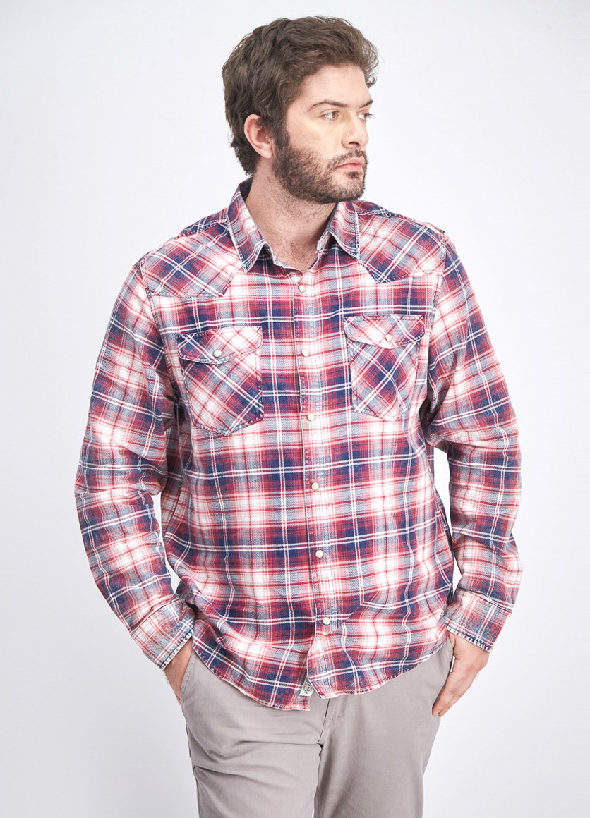 Men's Two Front Pocket Checkered Longsleeve T-shirt, Red/Navy